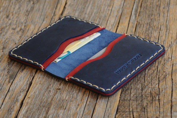 PERSONALIZED Blue Red Leather Wallet. Credit Card Holder. Pockets for Cash or ID. Rustic Style, Unisex Pouch. Monogram your name!