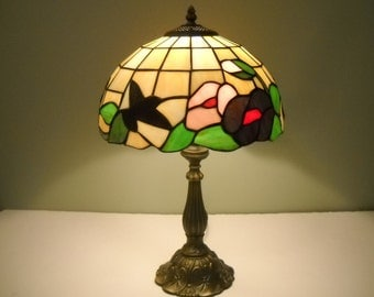 Stained Glass Lamp  Hummingbirds and Flowers