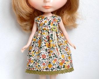 Blythe cotton dress / orange green flowers