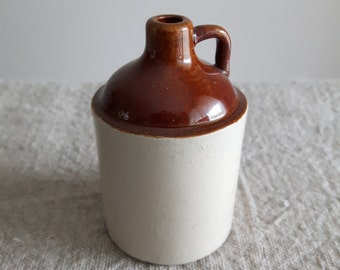 Miniature stoneware whiskey jug // brown moonshine jar, crockery, barware, bar decor, vase, spirits, man cave, earthenware crockery