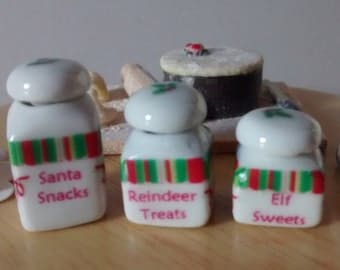 Dolls House miniature a set of 3 Christmas  jars / canisters
