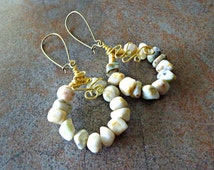 Jasper Stone Hoop Earrings, Natural Stone Dangle Earrings, Gypsy Earrings, Boho Earrings