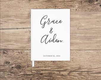 Custom Guest Book, Classic Wedding Guest Book Keepsake, Choose Your Font and Colors