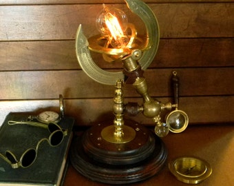 Amazing Custom Jules Verne Characters Tribute Steampunk Lamp - Artistic and Archaic Vintage Upcycled Design in this Custom Accent Lamp