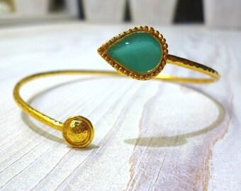 Turquoise Bangle Bracelet, Open Cuff Bracelet, Turquoise Teardrop Bracelet, Gold Bracelet, Adjustable Bracelet, Greek Bracelet, Statement