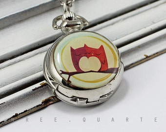 Watch necklace, chain watch, owls, moon, pocket watch, owl, tree, gift, watch, necklace Couple, love, in love, cute, sweet, blog, jewelry