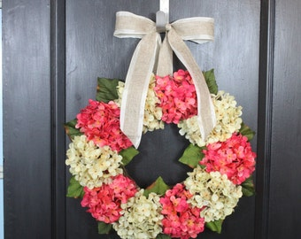 Hydrangea wreath- summer wreath- Mothers Day Gift Floral Wreath- wreaths for home