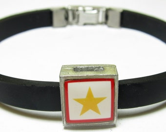 Military Gold Star Service Banner Link With Choice Of Colored Band Charm Bracelet