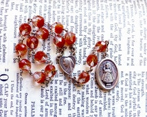 Infant of Prague Chaplet - Catholic Chaplet, Clear and Orange Czech Glass Beads