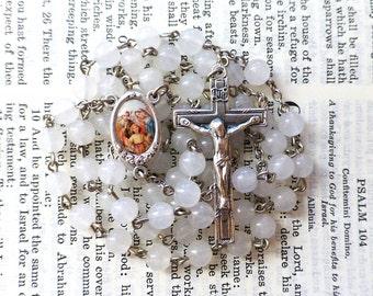 Holy Family Rosary - Catholic Rosary, White Snow Quartz Gemstone Beads