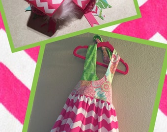 Girls Sun Dress & Matching Bow - Size 4-6