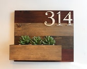 House Number Plaque and Planter // Wood Wall Planter // Address Plaque & Planter // House Planter Box // Address Planter