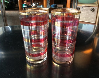 Four Vintage Red and Gold Highball Glasses