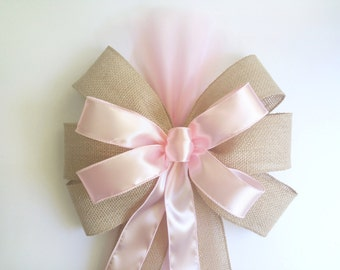 Burlap Pink Pew Bow, Pink Satin Pew Bow,Wedding Pew Bow,Bridal Shower Bow, Church Aisle Decor, Wreath Door Decoration