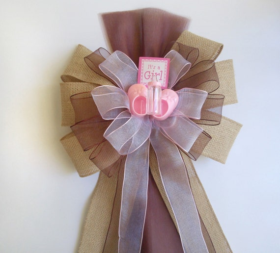 Girl baby shower bow burlap brown pink by darlingchicdesign for Baby girl hospital door decoration