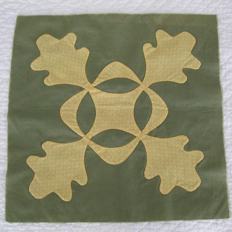 Vintage oak leaf applique quilt block square country decor