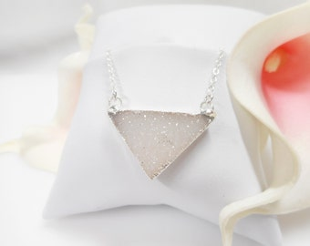White Triangle Drusy Necklace Triangle Drusy Layering Necklace Boho Drusy Necklace Sterling Drusy Geometric Necklace FREE US Ship