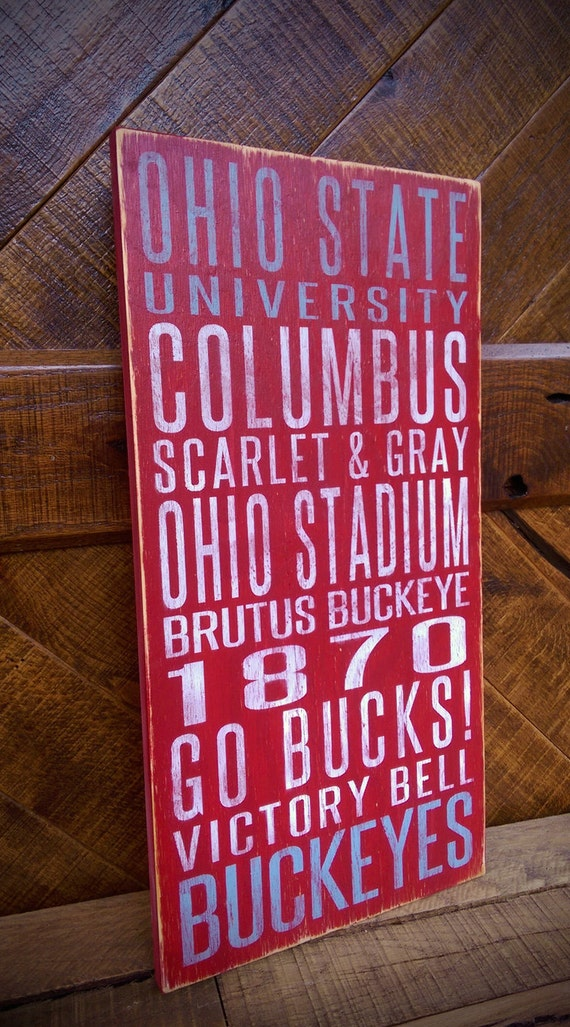 Ohio State University Distressed Wood Sign--Great Father's Day Gift!