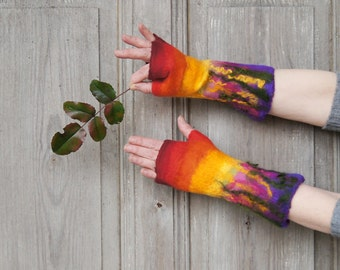Hand felted mittens, colorful fancy fingerless gloves, merino wool arm warmers. OOAK