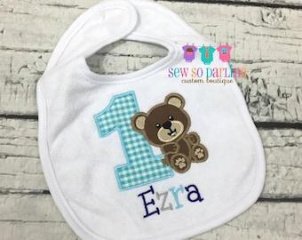 Baby Boy 1st Birthday Bib - Teddy Bear Birthday Bib - First Birthday personalized bib - first birthday bib boy