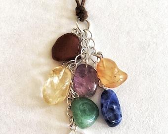 Chakra necklace / Chakra jewelry / Chakra dangle necklace / Everyday necklace / Energy necklace / Meaningful jewelry /  Boho chakra necklace