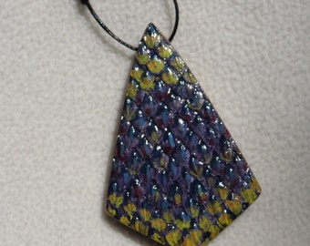Wooden Purple Snake Textured Necklace