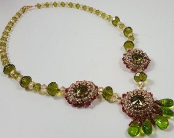 Beadwork Necklace - Rivoli Necklace - Embroidered Pendant - Bead embroidery necklace - Beadwoven necklace - Green crystal Necklace