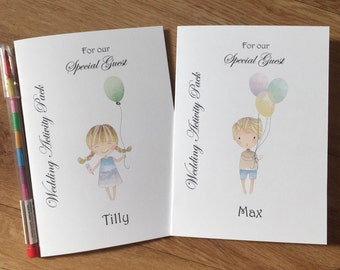 A6 Personalised Childrens Wedding Activity Colouring Book,Pack Favour,Young Wedding Guest