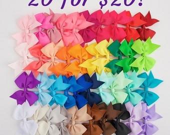 "Hair bows, 3.5"" bows, toddler bows,  little girl bow set, girls bows, set of bows, cheap bows, boutique bows, dollar bows, girl party favor"