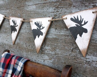 Wood Maine Moose Banner Rustic Decor Cabin Decor Lodge Decor Pennant Tags Signs