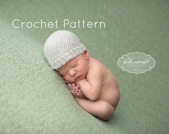 CROCHET PATTERN, Newborn Mohair Beanie Hat, Newborn Photo Prop, Baby Hat Crochet Pattern, Unisex Crochet Hat Pattern, Newborn Boy Girl Hat