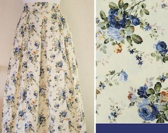 Blue roses on vanilla skirt, maxi skirt, designer skirt, made to order