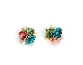 SALE Seashell Screw Back Earrings, Pastel Costume Jewelry