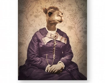 Camel Art Print Animal Art Anthropomorphic Victorian Animals In Clothes Archival Collage Photography Unique Home Decor 3 Sizes