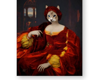 "Cat Art Print Animal Art Fairytale Nursery Decor Animals In Clothes Renaissance Wall Art (3 Sizes Available) ""Queen Gardenia"""