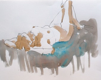 Original watercolor. Woman lying, hands under his head. Portrait. Painting.