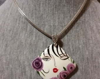 Pendant Necklace - Ceramic Jewelry - Handpainted Necklace - Art Jewelry - Purple Necklace - Flower Jewelry - Accessories - Gifts For Women