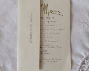 1960's, Antique Vintage French Menu, Dated 25 September 1960, Golden Wedding Anniversary of Mr and Mrs Joseph Martelain