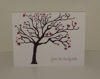 Heart Tree Wedding Thank You Cards From the Newlyweds - Set of 10