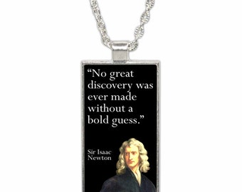 Sir Isaac Newton Quote Pendant Necklace