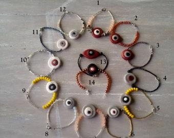 Funky beaded bracelet - boho bracelet - Evil Eye bracelet - Eye bracelet - Fimo evil eye bracelet - polymer clay bracelet - fimo bracelet