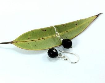Black Agate Sterling Silver Earrings, Silver Jewelry, Silver Earrings, Black Drop Dangle Earrings, Silver Dangle Earrings