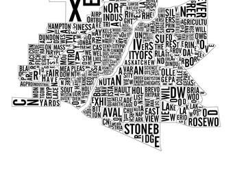 Saskatoon Saskatchewan City Map - Saskatoon Art - Saskatoon Map - Typography Poster