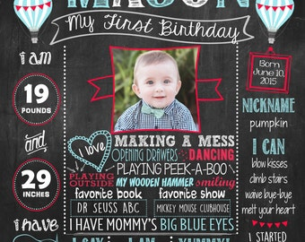 Hot Air Balloon First Birthday Chalkboard Poster DIGITAL FILE
