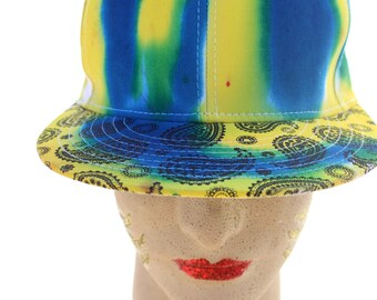 Tie Dye Snap Back Paisley Flat Brim Yellow and Cobalt Hat