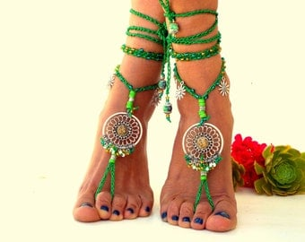 Green, Barefoot Sandals, Barefoot Beach Jewelry,  gemstones Hippie Sandals, Foot Jewelry, Toe Thong, festival accessories, yoga toe, anklet