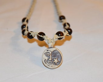 Moon and Star Hemp Necklace, Hemp Jewelry, Beaded Hemp Jewelry, Macrame Jewelry, Macrame Necklace