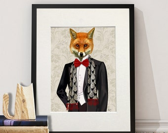 Fox Painting British wildlife art, Fox Red Bow Tie -  UK shops only fox print fox illustration fox hunting gift large art print fox canvas