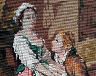 Maid and suitor in kitchen scene - hand stitched needlepoint vintage french ideal for wall/cushion/pillow/bag/stool/chair cover
