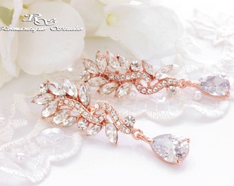 Rose gold CZ earrings cubic zirconia bridal earrings crystal wedding earrings CZ bridesmaid earrings bridal jewelry wedding jewelry 1313RG